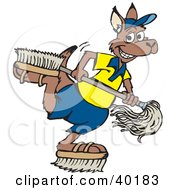 Kangaroo Janitor Playing With Brush Shoes And A Mop