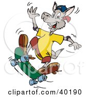 Clipart Illustration Of A Waving Kangaroo Skateboarding by Dennis Holmes Designs