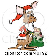 Christmas Santa Kangaroo Holding A Sack Of Toys And Presents