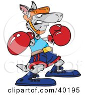 Clipart Illustration Of A Gray Boxing Kangaroo by Dennis Holmes Designs