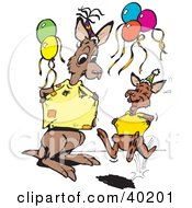 Clipart Illustration Of Young And Old Kangaroos Comparing Their Shirts At A Birthday Party by Dennis Holmes Designs