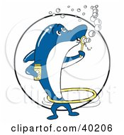 Blue And White Dolphin Blowing Bubbles And Spinning A Hula Hoop