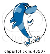 Clipart Illustration Of A Blue And White Dolphin Wearing Shoes And Running In Front Of A Circle