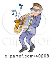 Cool Caucasian Man Wearing Shades And Leaning Back While Playing Blues Music On A Sax