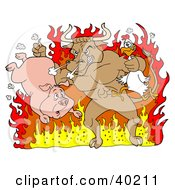 Clipart Illustration Of A Tough Bull Holding A Chicken And Pig And Standing In Hot Flames by LaffToon #COLLC40211-0065
