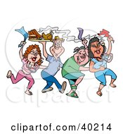 Clipart Illustration Of Dancing Mardi Gras Pigs Holding Up A Tray Of Bbq Meat by LaffToon