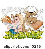 Chef Pig And Cow Standing Back To Back Behind Corn Holding Up Steak And Bbq Ribs