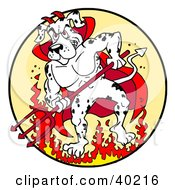 Strong Fire House Dalmatian Dog Devil Standing In Fire And Holding A Pitchfork