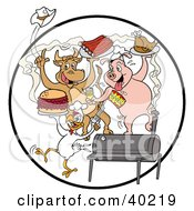 Clipart Illustration Of A Cow Pig And Chicken Celebrating At A Bbq Eating Bbq Ribs Burgers And Chicken by LaffToon #COLLC40219-0065