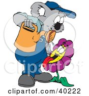Clipart Illustration Of A Koala Gardener Watering A Thirsty Flower