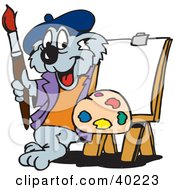 Koala Artist Standing With Paints And An Easel