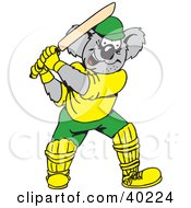 Clipart Illustration Of A Cricket Koala Batting by Dennis Holmes Designs