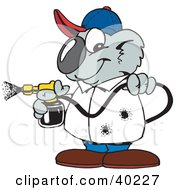 Clipart Illustration Of A Koala Pest Control Man Spraying Insecticide by Dennis Holmes Designs