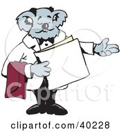 Clipart Illustration Of A Koala Host Seating Customers At A Restaurant
