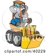 Clipart Illustration Of A Koala Driving A Tractor by Dennis Holmes Designs