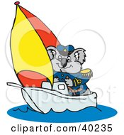 Clipart Illustration Of A Koala Sailor In A Boat by Dennis Holmes Designs