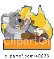 Koala Platypus And Bird Hugging In Front Of An Australian Map With A Blank Orange Text Box