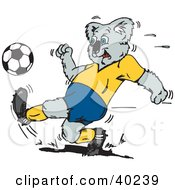 Clipart Illustration Of A Koala Kicking A Soccer Ball During A Game by Dennis Holmes Designs