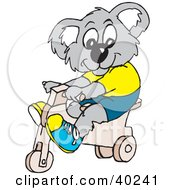 Clipart Illustration Of A Koala Kid Riding A Trike by Dennis Holmes Designs