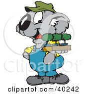 Clipart Illustration Of A Koala Gardener Carrying A Tree Of Seedling Plants