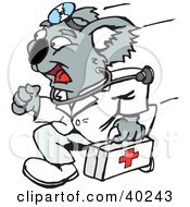 Clipart Illustration Of A Koala Emergency Paramedic Running With A First Aid Kit by Dennis Holmes Designs