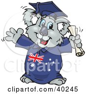 Clipart Illustration Of A Smart Graduating Koala In An Aussie Gown Holding A Diploma