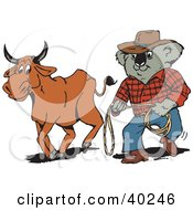 Clipart Illustration Of A Koala Farmer Cowboy Walking Along Side A Bull by Dennis Holmes Designs
