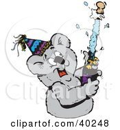 Clipart Illustration Of A Koala Popping A Cork Off Of A Bottle Of Champagne At A New Years Party