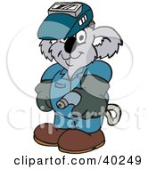 Clipart Illustration Of A Koala Welder Wearing Safety Gear