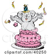 Clipart Illustration Of A Koala Popping Out Of A Pink Birthday Cake