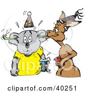 Clipart Illustration Of A Kangaroo Blowing A Blower Toy Through A Koalas Ears At A Party by Dennis Holmes Designs