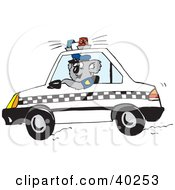 Clipart Illustration Of A Koala Officer Driving A Patrol Car by Dennis Holmes Designs