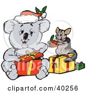 Clipart Illustration Of A Koala And Squirrel Exchanging Christmas Presents