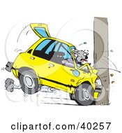 Clipart Illustration Of A Koala Crashing Their Car Into A Pole