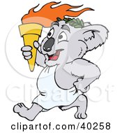 Clipart Illustration Of A Koala Wearing A Laurel Robe And Walking With A Torch by Dennis Holmes Designs