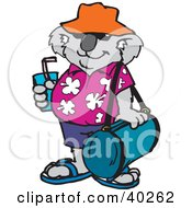 Clipart Illustration Of A Koala Tourist Sipping A Beverage And Carrying Luggage by Dennis Holmes Designs