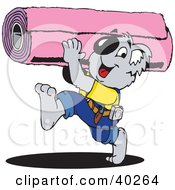 Clipart Illustration Of A Koala Carpet Installer Carrying A Roll by Dennis Holmes Designs