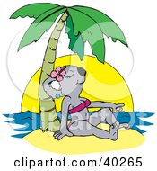 Clipart Illustration Of A Female Koala Tanning In A Bikini On A Tropical Beach by Dennis Holmes Designs