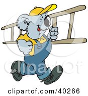 Clipart Illustration Of A Koala Roofer Running With A Ladder