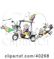 Clipart Illustration Of A Koala Holding A Broken Steering Wheel Of A Golf Cart Creating Chaos With His Cockatoo Kangaroo And Emu Friends by Dennis Holmes Designs