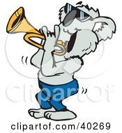 Clipart Illustration Of A Koala Musician Playing A Trumpet by Dennis Holmes Designs