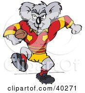 Clipart Illustration Of A Koala Rugby Football Player by Dennis Holmes Designs