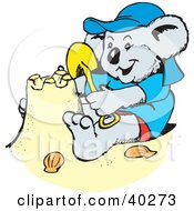 Clipart Illustration Of A Koala Kid Making A Sand Castle On Vacation by Dennis Holmes Designs