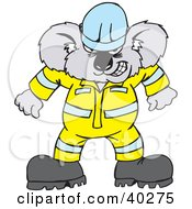 Clipart Illustration Of A Mad Koala Construction Worker In Uniform by Dennis Holmes Designs