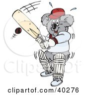 Clipart Illustration Of A Koala Batting During A Game Of Cricket
