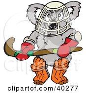 Clipart Illustration Of A Koala Hockey Goalie Holding A Stick