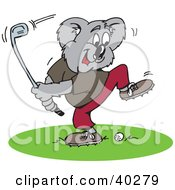 Clipart Illustration Of A Golfing Koala Swinging A Club