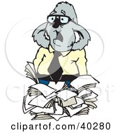 Overwhelmed Business Koala With A Stack Of Paperwork