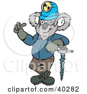 Clipart Illustration Of A Koala Construction Worker Leaning Against A Drill by Dennis Holmes Designs