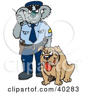 Clipart Illustration Of A Koala Police Officer With A K9 Unit